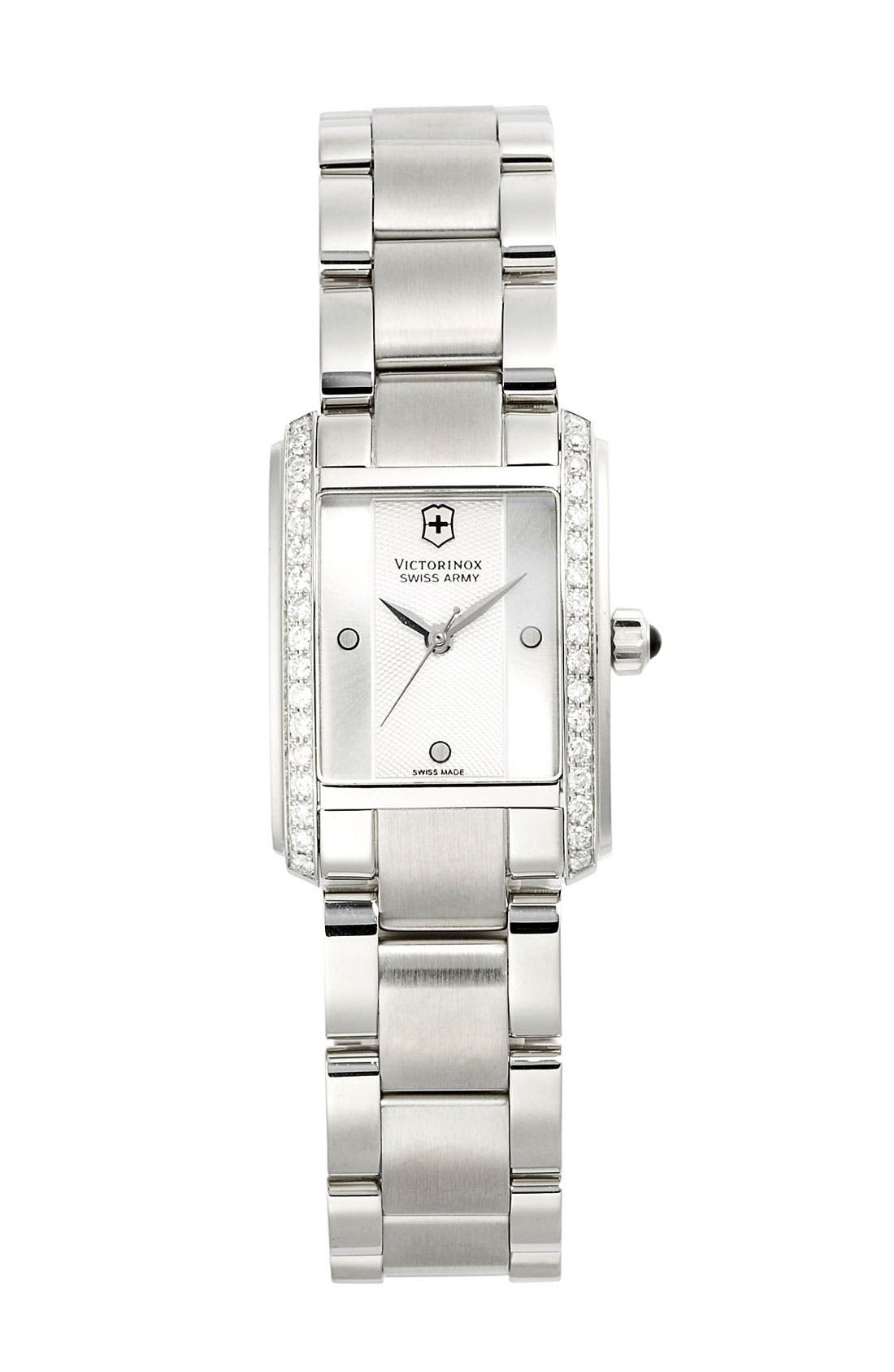 Alternate Image 1 Selected - Victorinox Swiss Army® 'Vivante' Rectangular Diamond Case Bracelet Watch, 21mm x 30mm
