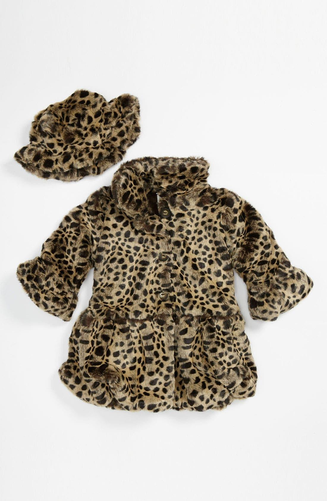 Main Image - Widgeon Faux Fur Coat & Hat (Toddler)