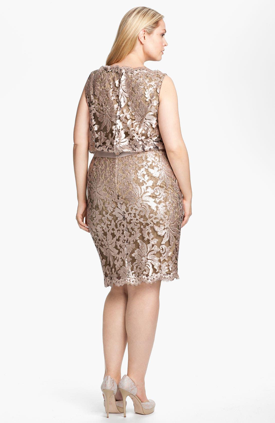 Alternate Image 2  - Tadashi Shoji Lace Overlay Dress (Plus Size)