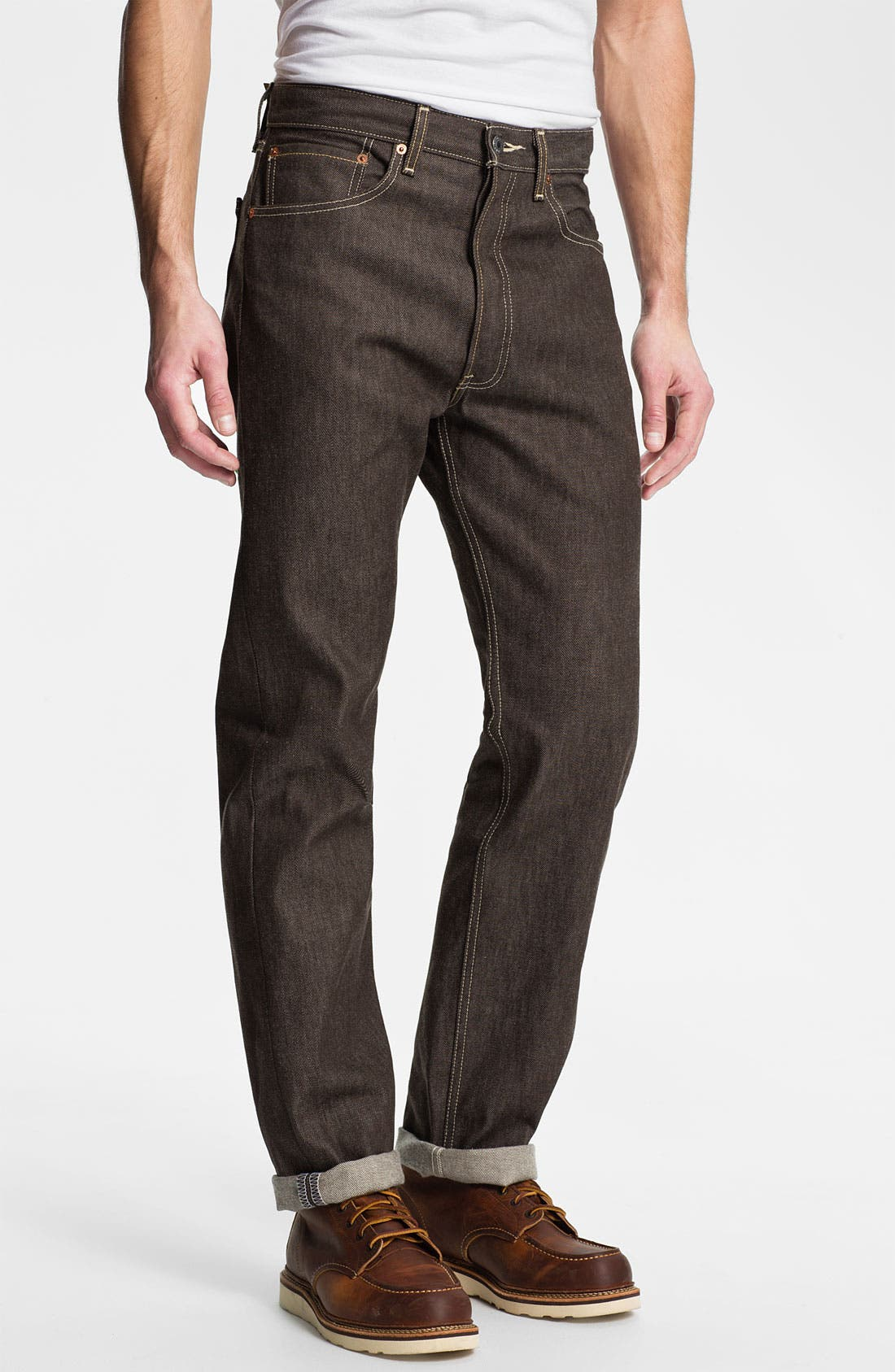 Alternate Image 2  - Levi's® '501®' Shrink-To-Fit Straight Leg Jeans (Brown Rigid)