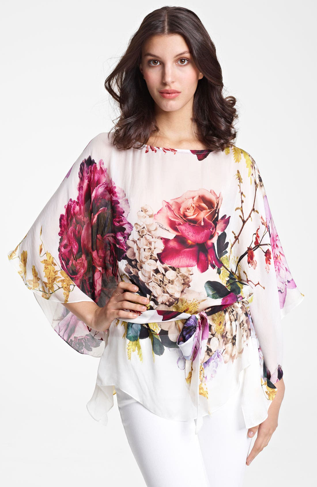 Alternate Image 1 Selected - Roberto Cavalli 'Armoise Print' Belted Chiffon Caftan