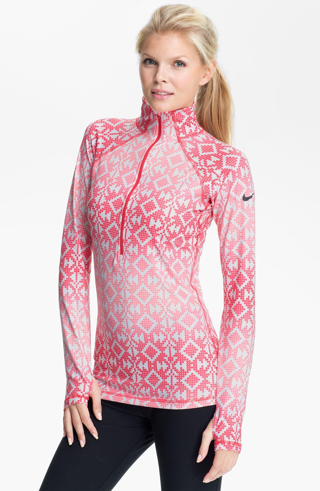 Main Image - Nike 'Pro Hyperwarm' Print Half Zip Top