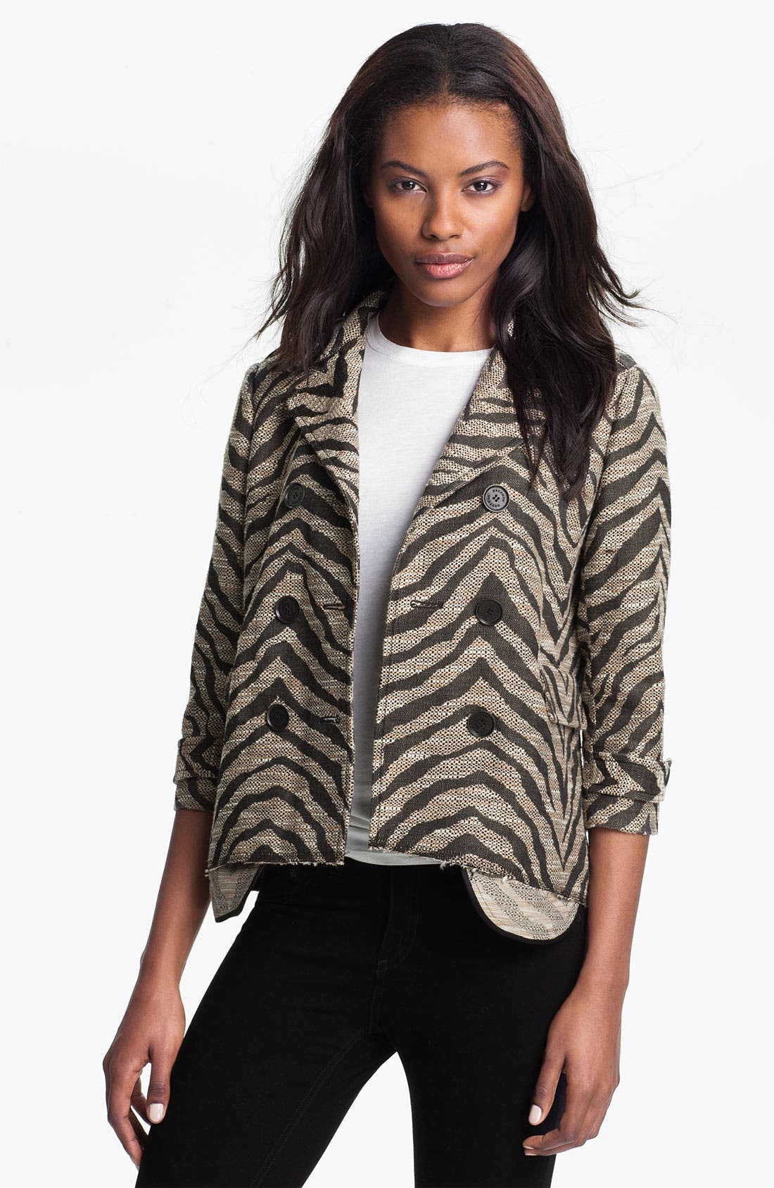 Alternate Image 1 Selected - Gryphon Cutoff Zebra Jacquard Peacoat
