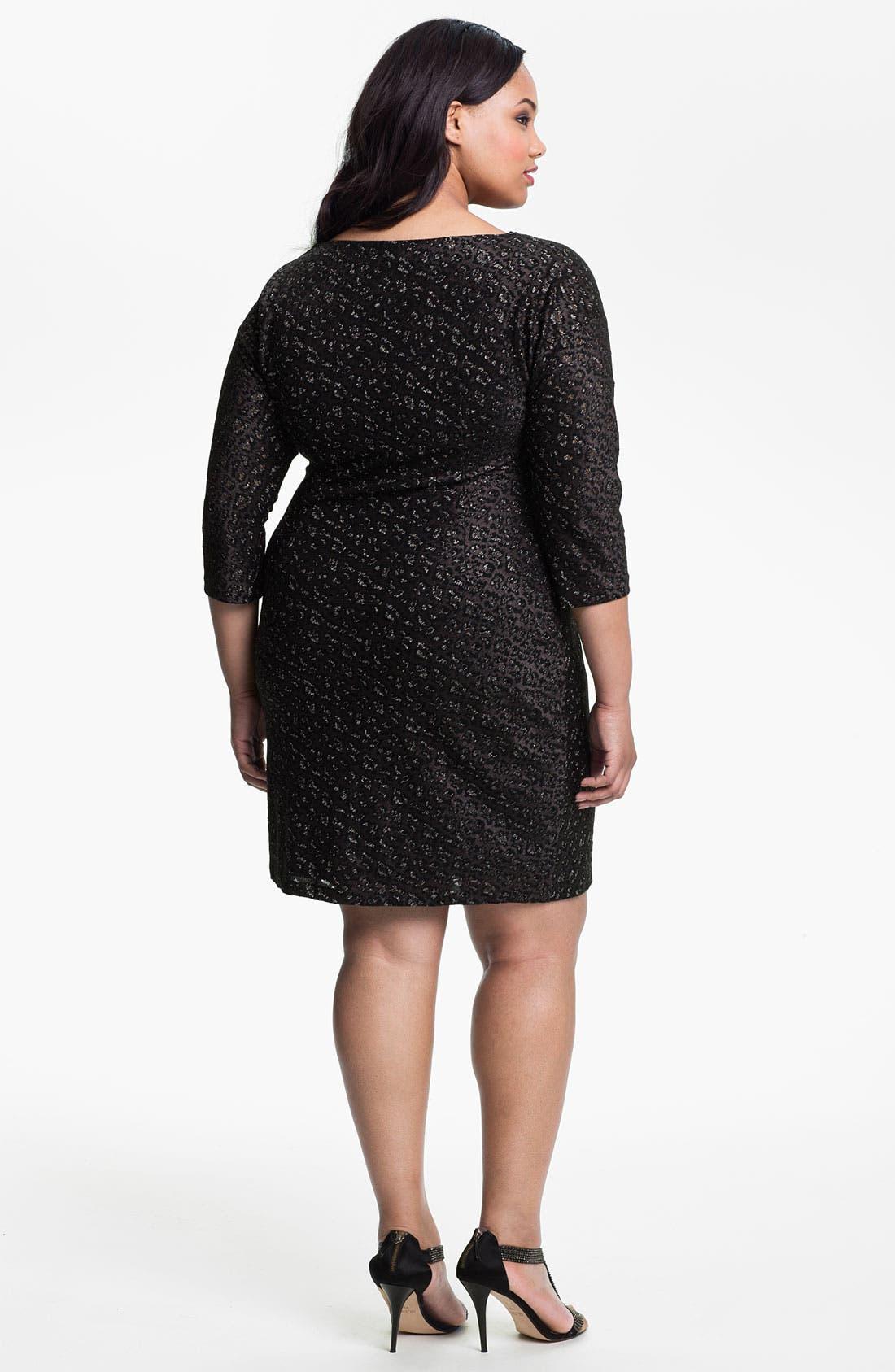 Alternate Image 2  - Adrianna Papell Cowl Neck Metallic Jacquard Dress