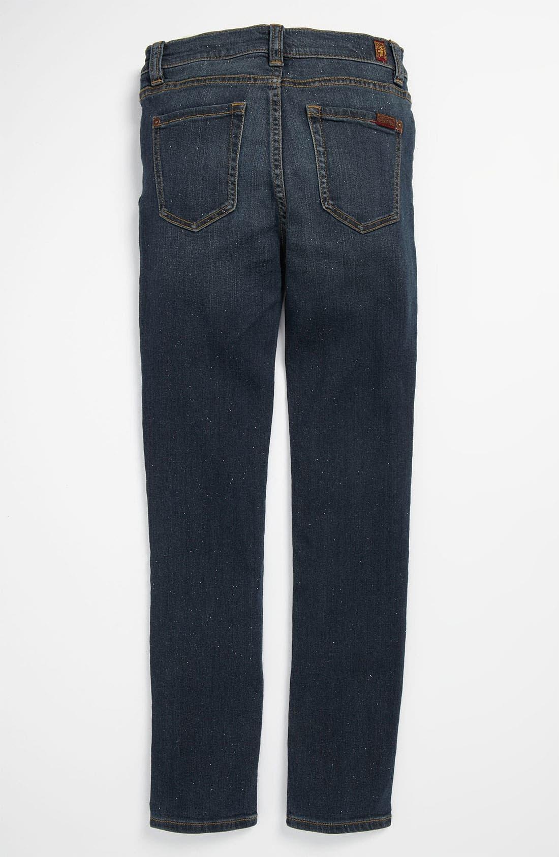 Alternate Image 1 Selected - 7 For All Mankind® Sparkle Stretch Skinny Leg Jeans (Big Girls)