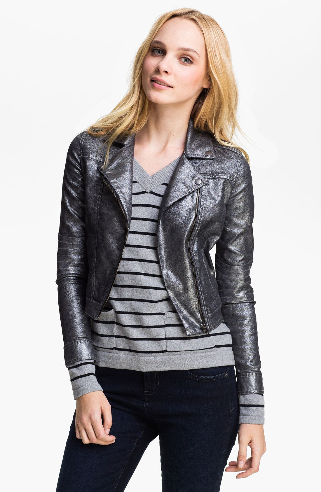 Alternate Image 1 Selected - Two by Vince Camuto Metallic Moto Jacket