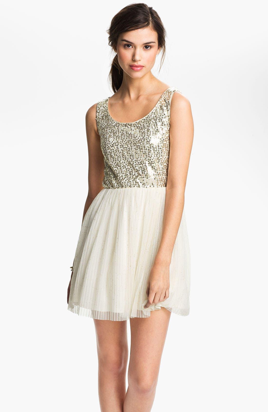 Main Image - As U Wish Sequin Tulle Cutout Dress (Juniors)