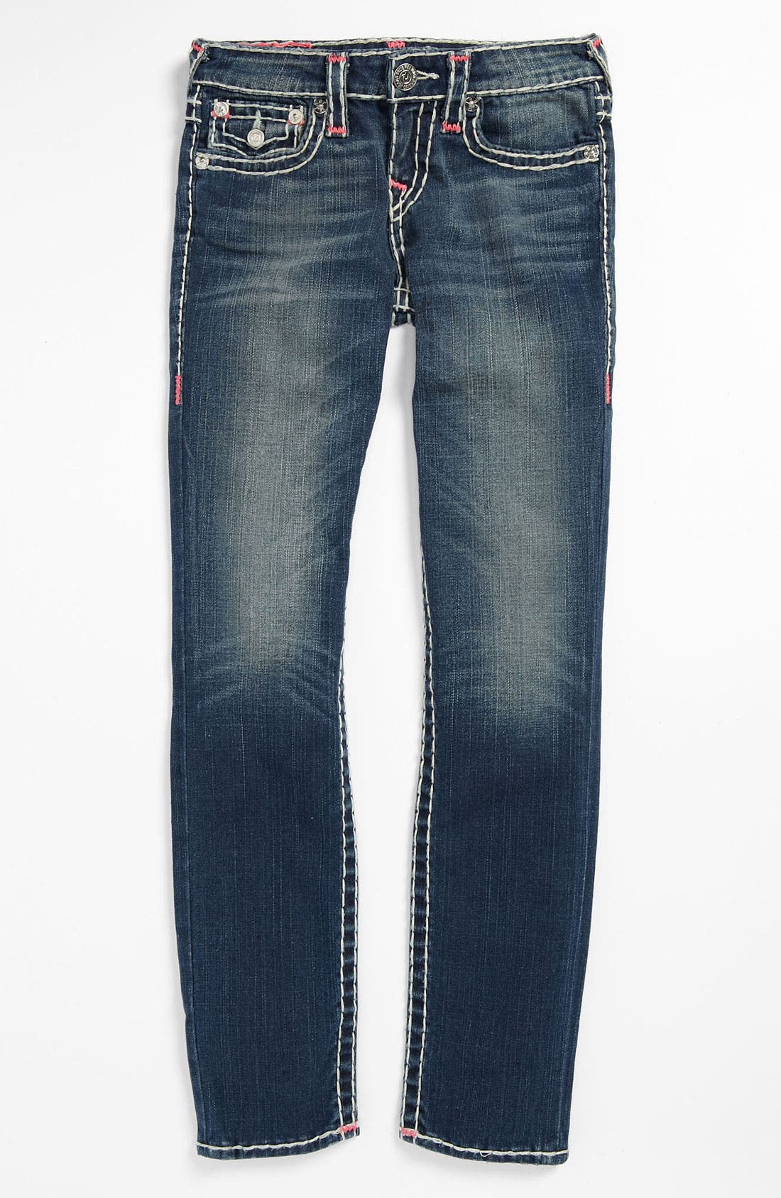 Alternate Image 2  - True Religion Brand Jeans 'Bartack - Super T' Straight Leg Jeans (Little Girls & Big Girls)