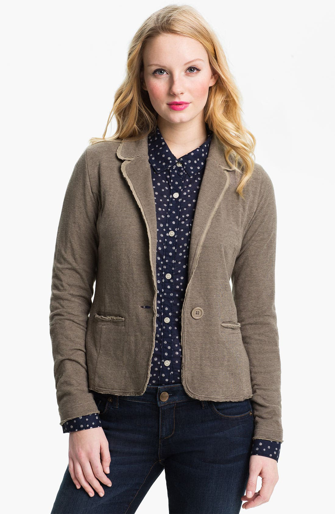 Main Image - Caslon® Long Sleeve Double Knit Blazer