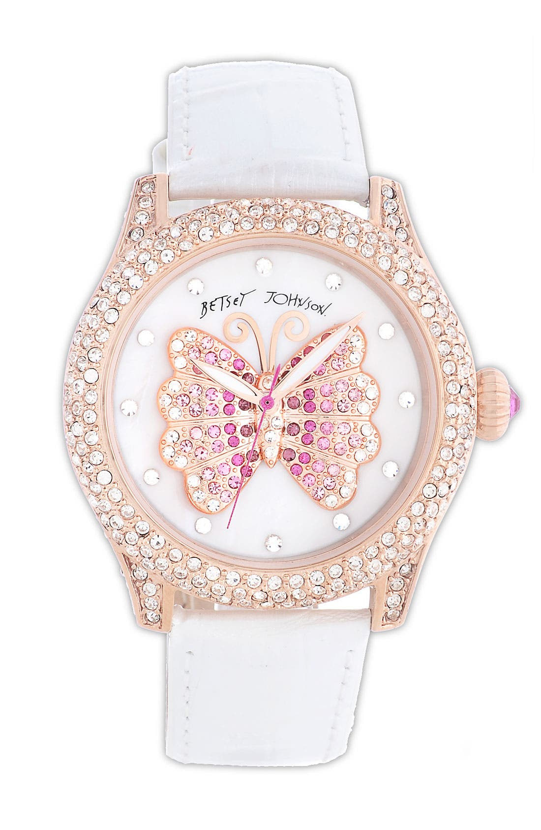 Main Image - Betsey Johnson Butterfly Dial Pavé Crystal Watch