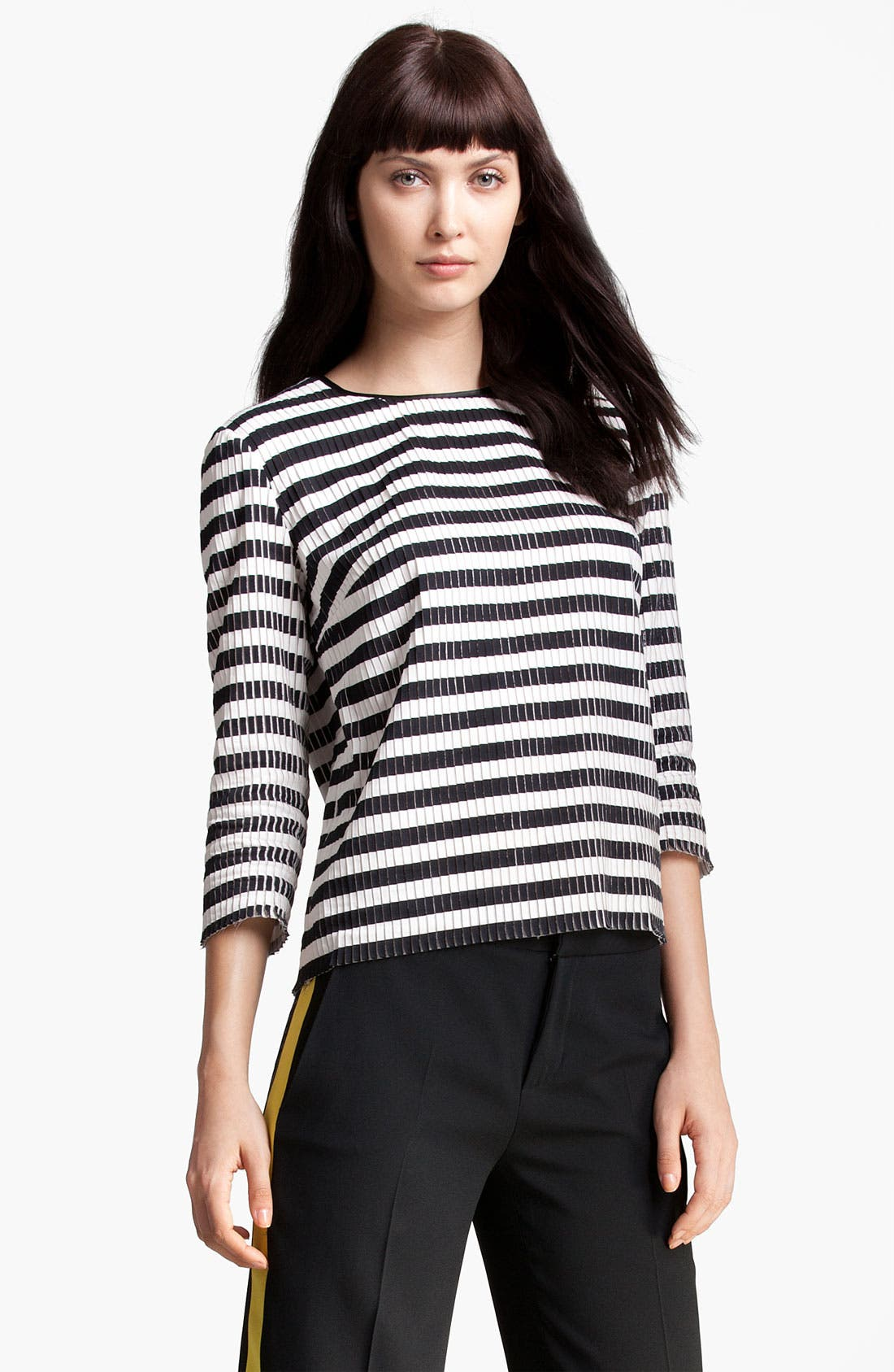Alternate Image 1 Selected - MSGM Stripe Silk & Cotton Top