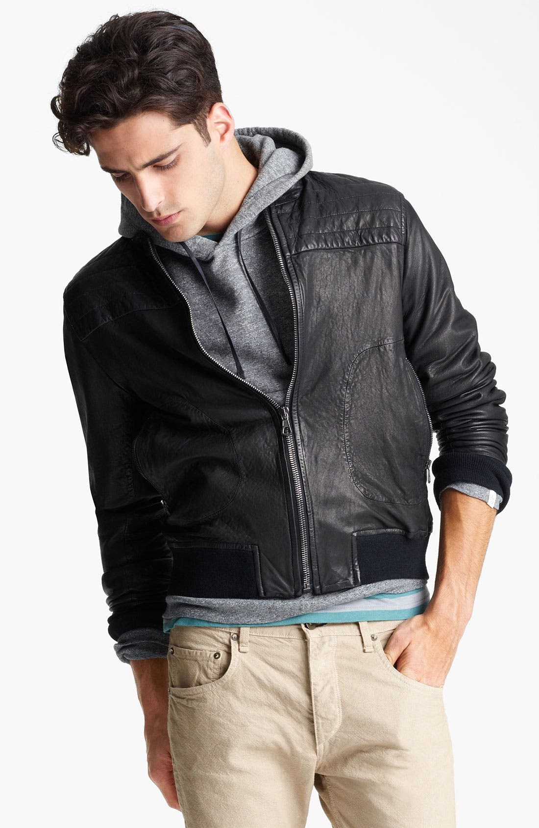 Main Image - rag & bone Leather Bomber Jacket