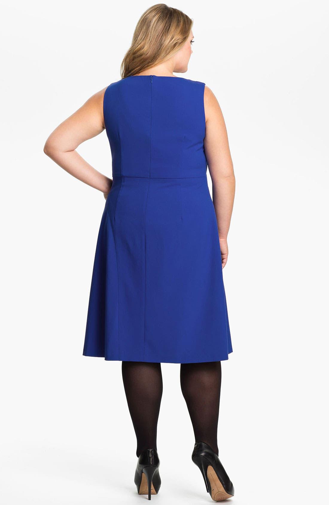 Alternate Image 2  - Calvin Klein Sleeveless A-Line Jersey Dress (Plus)
