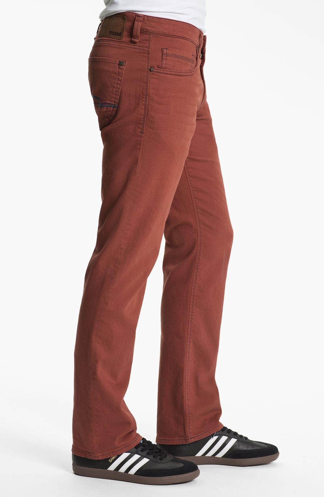 Alternate Image 3  - Mavi Jeans Slim Straight Leg Jeans (Rust)