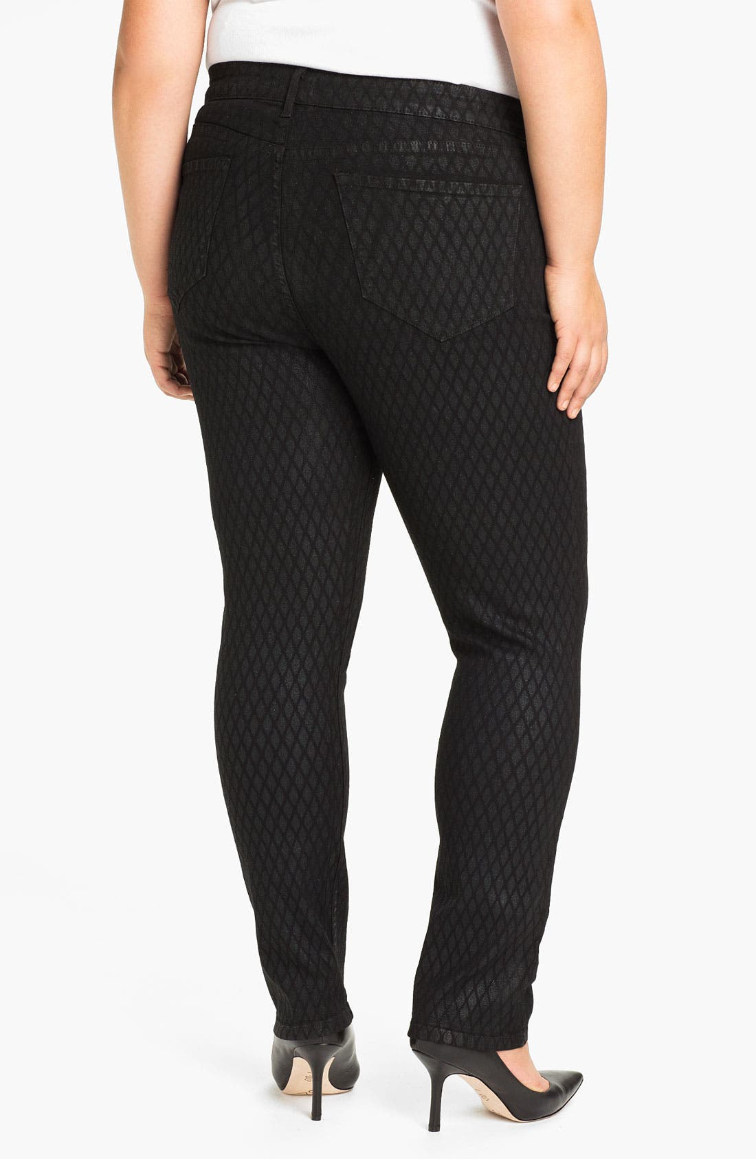 Alternate Image 2  - NYDJ 'Sheri - Geometric Glitter' Skinny Denim Jeans (Plus)