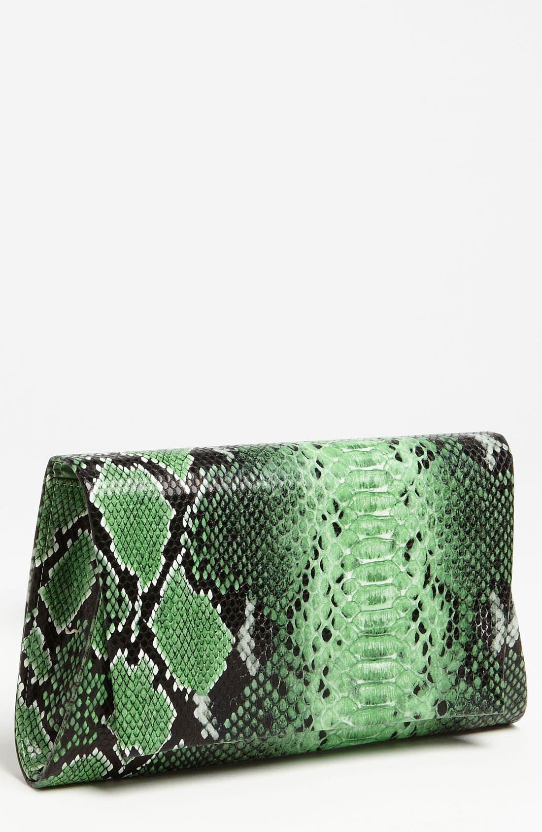 Main Image - Natasha Couture Foldover Snake Embossed Clutch