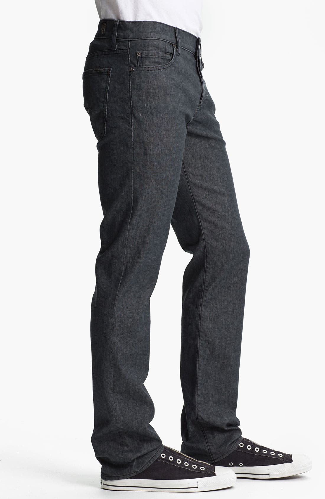 Alternate Image 3  - 7 For All Mankind® 'Standard' Straight Leg Jeans (Clean Grey)