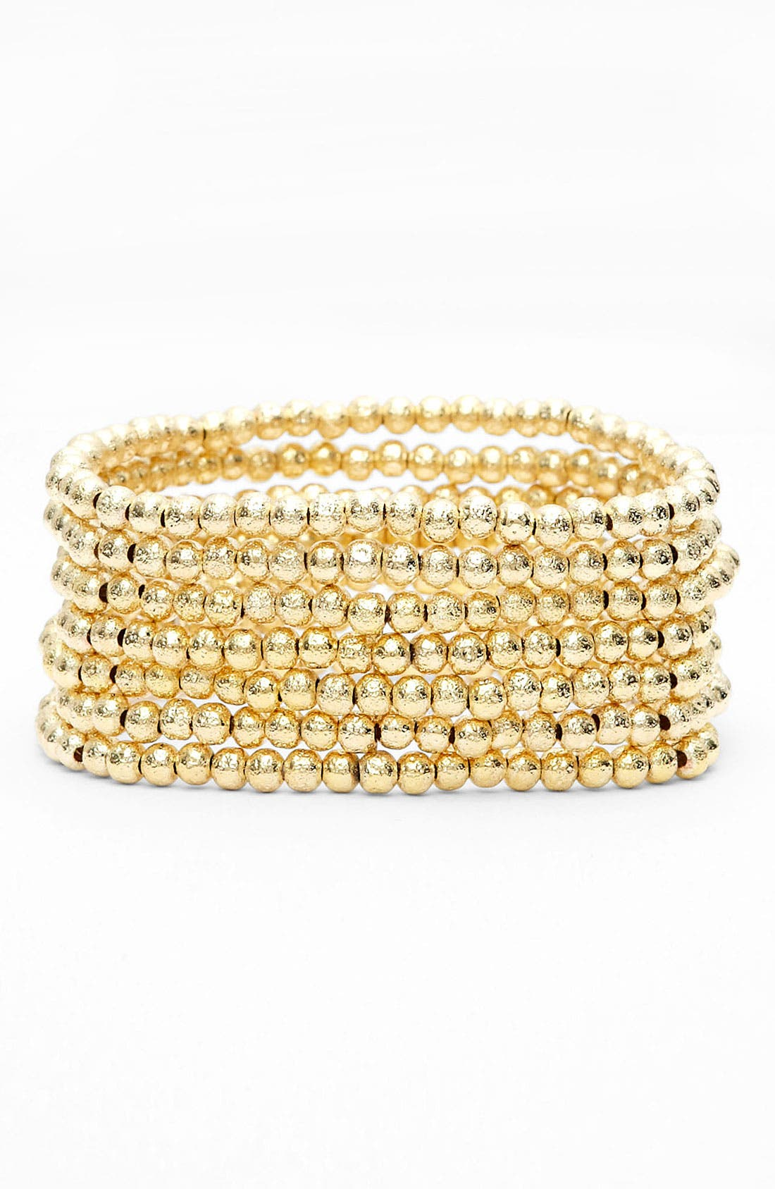 Alternate Image 1 Selected - Nordstrom 'Sand Dollar' Bead Stretch Bracelets (Set of 7)