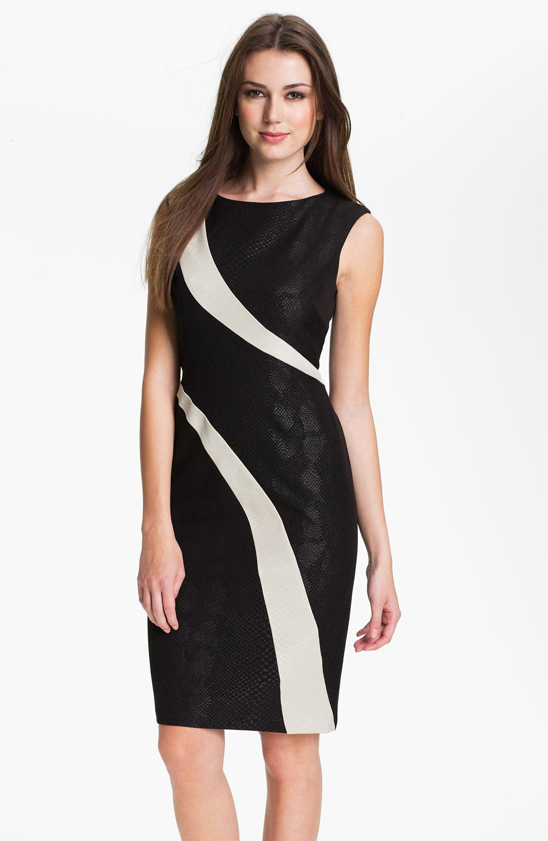 Alternate Image 1 Selected - Adrianna Papell Contrast Panel Snakeskin Pattern Sheath Dress