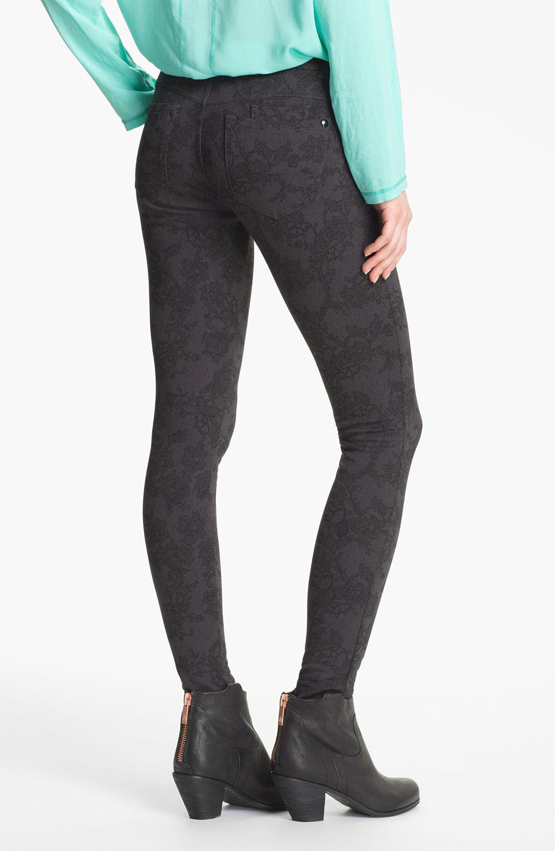 Alternate Image 2  - Jolt Lace Print Ponte Skinny Pants (Juniors)