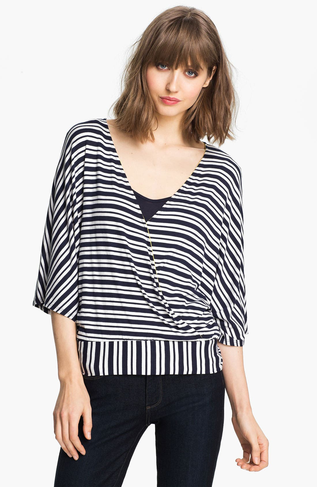 Alternate Image 1 Selected - Ella Moss Stripe Surplice Dolman Top