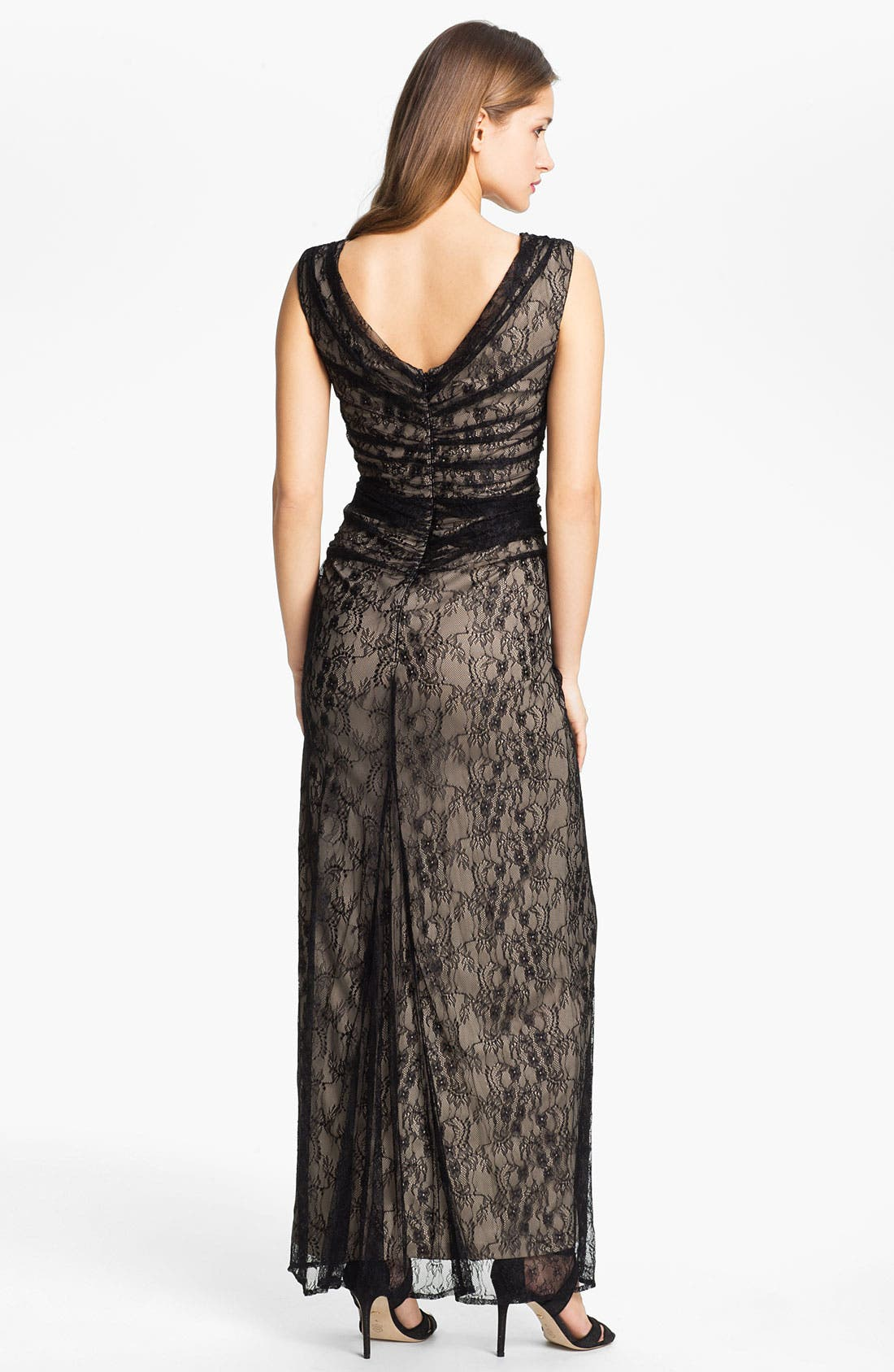 Alternate Image 2  - Wyton V-Neck Ruched Lace Overlay Gown