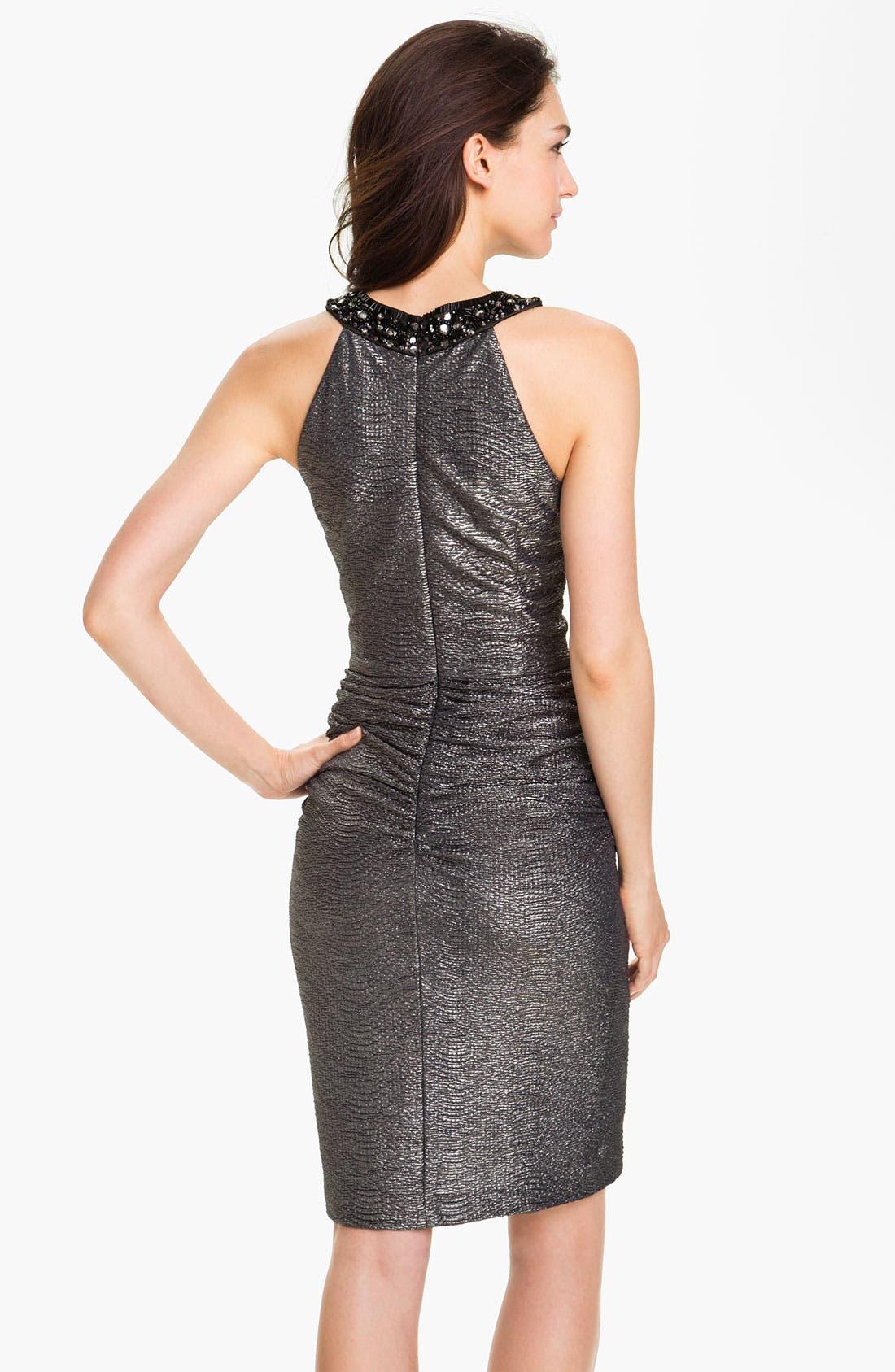 Alternate Image 2  - Maggy London Beaded Neck Metallic Sheath Dress (Petite)