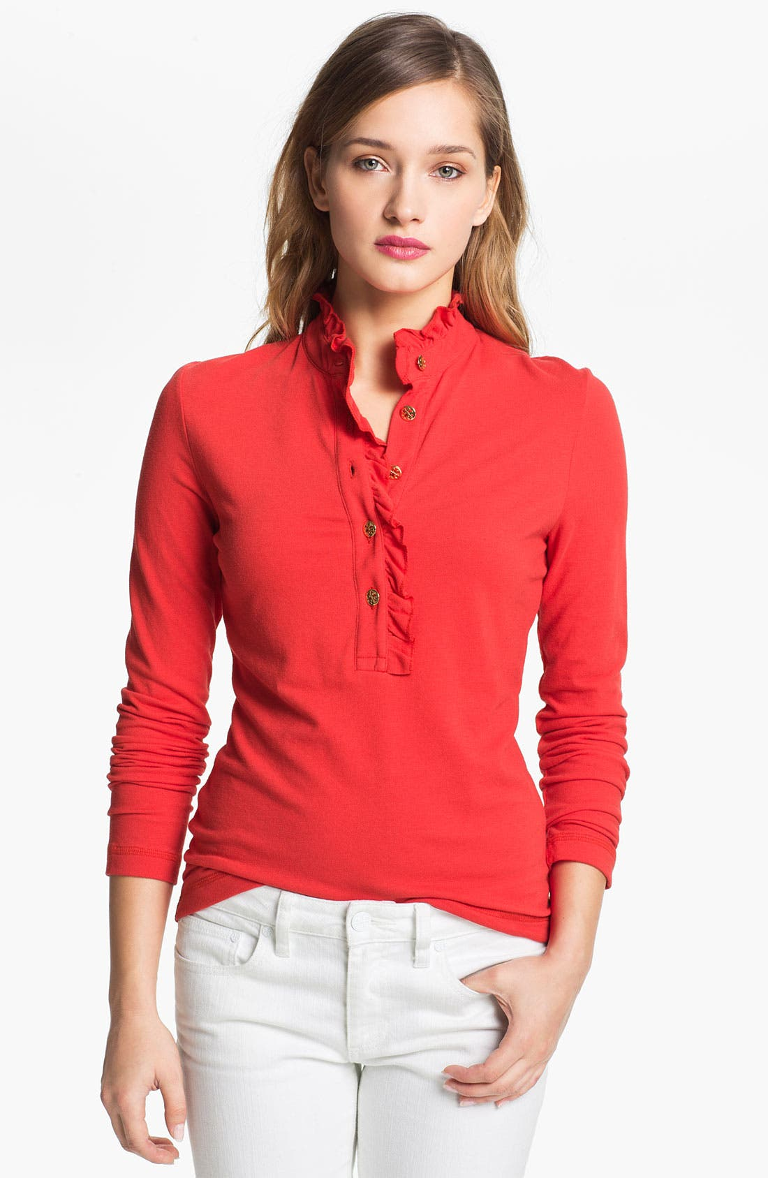 Main Image - Tory Burch 'Lidia' Long Sleeve Polo