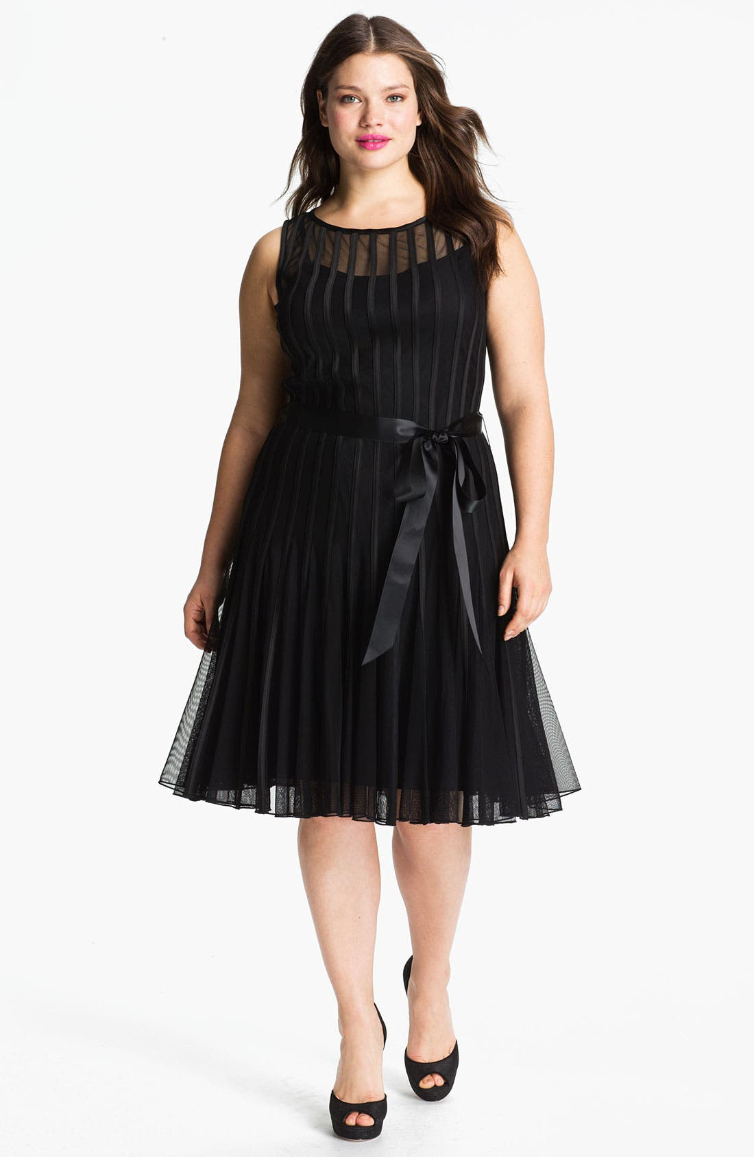 Main Image - Xscape Sleeveless Satin Stripe Mesh Dress (Plus Size)