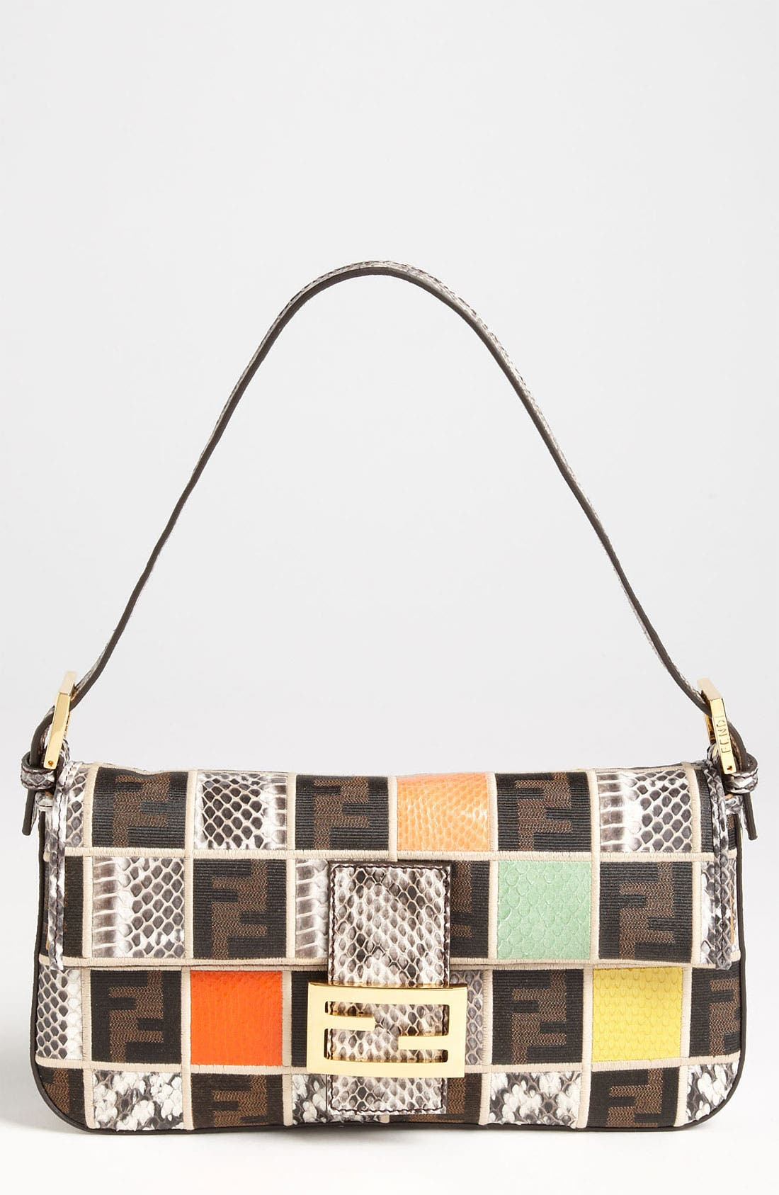Alternate Image 1 Selected - Fendi Genuine Ayers Snakeskin Patchwork Baguette
