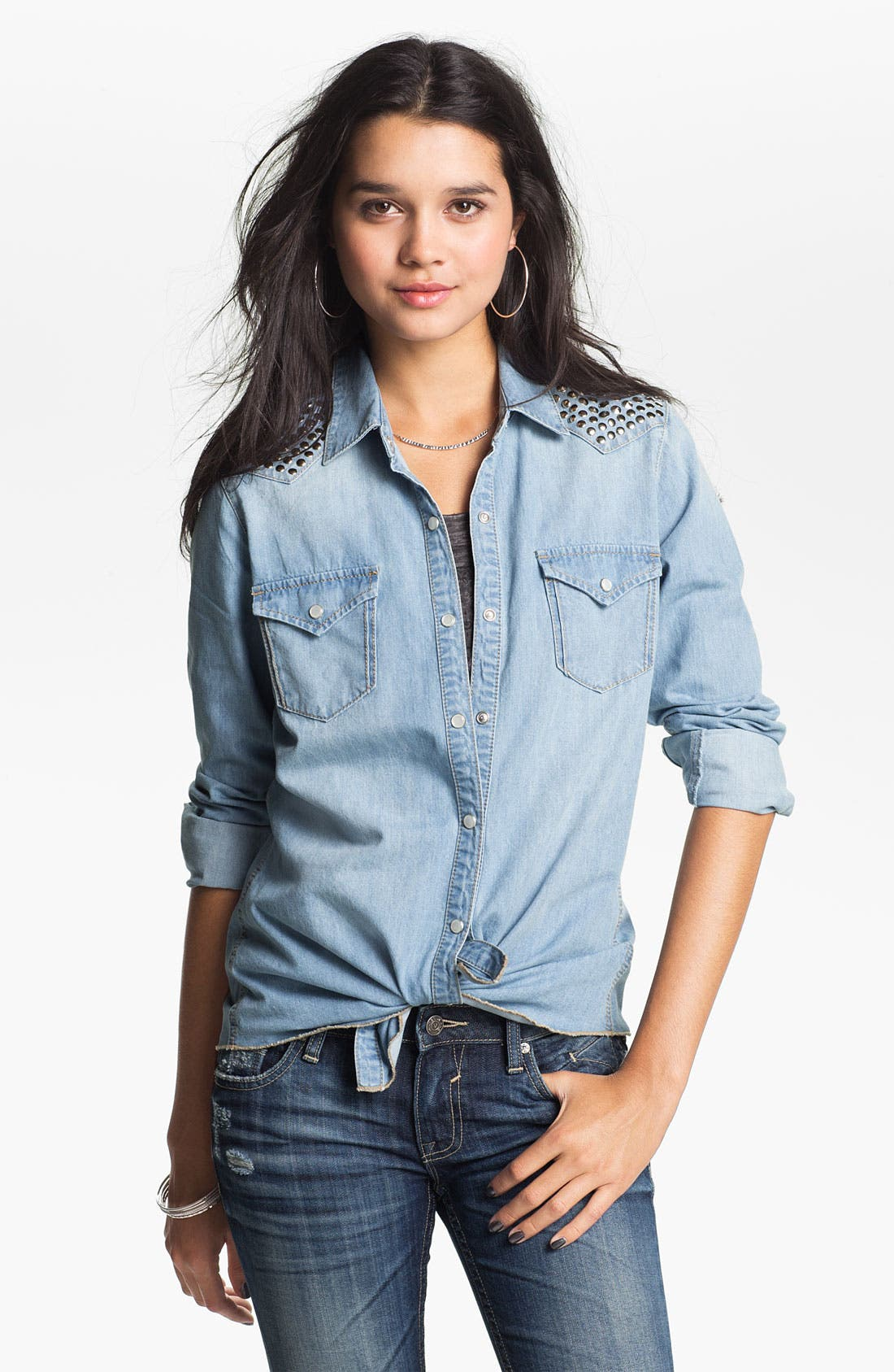 Main Image - Jolt Studded Chambray Shirt (Juniors)