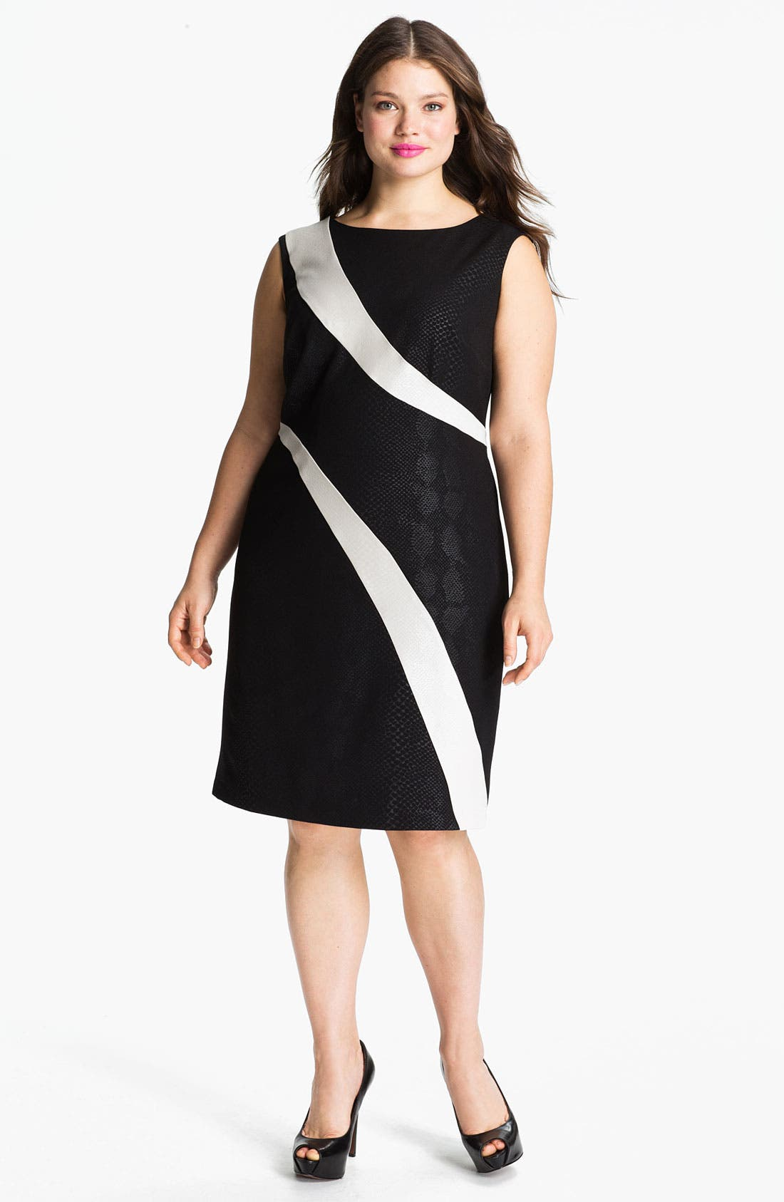 Main Image - Adrianna Papell Contrast Panel Snakeskin Pattern Sheath Dress (Plus)