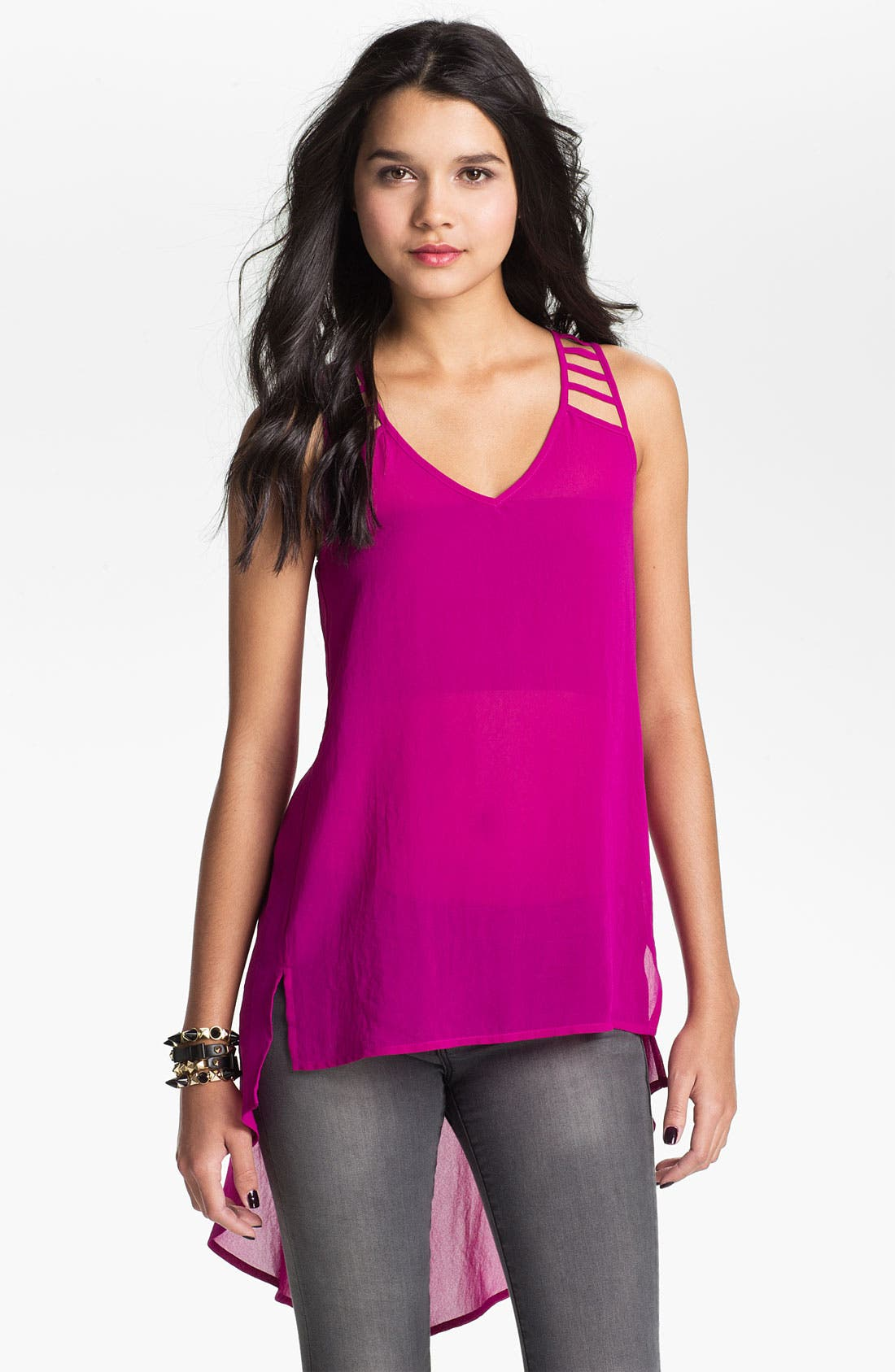 Main Image - Lush Strappy High/Low Chiffon Tank (Juniors)