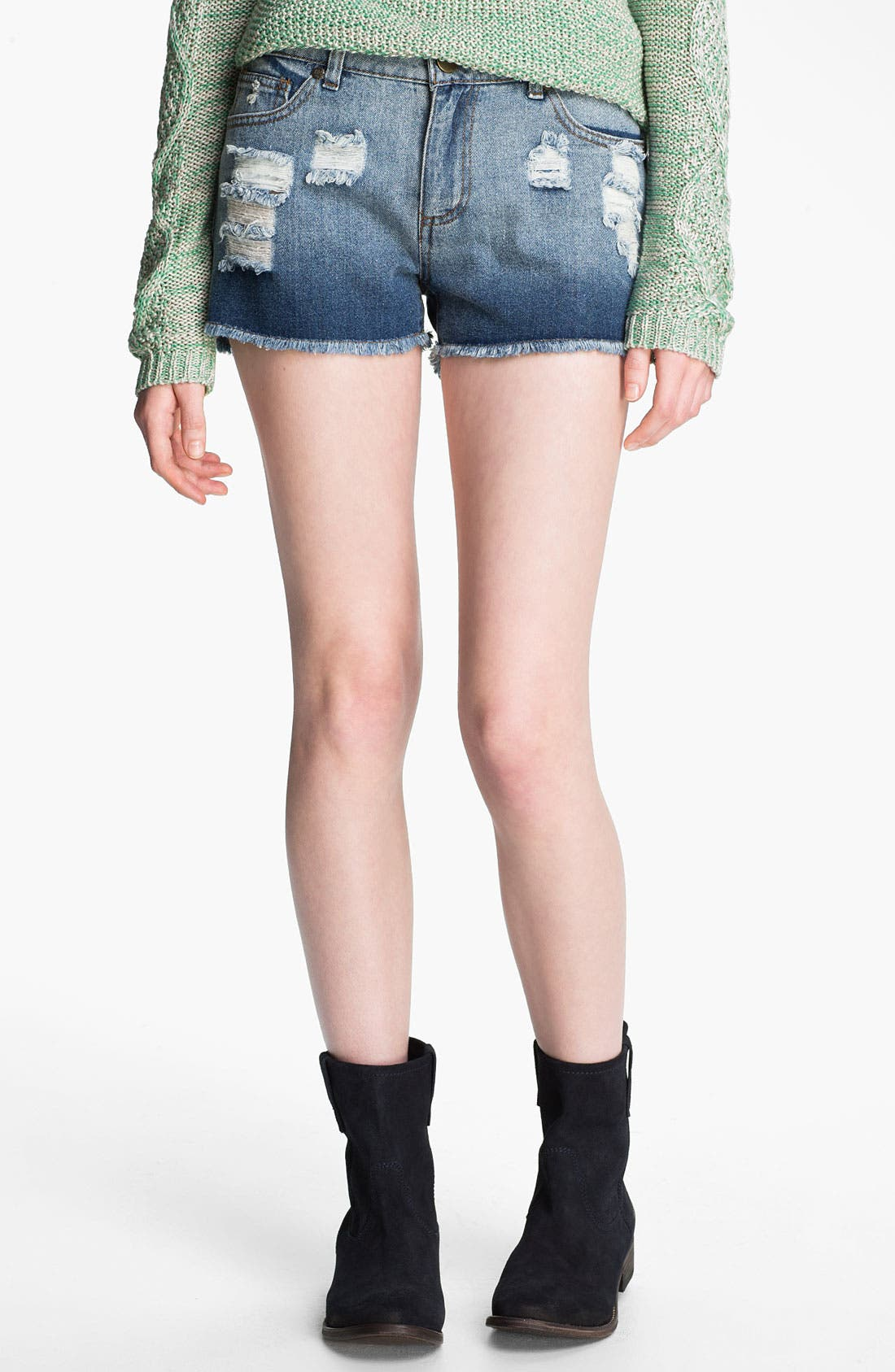 Main Image - Fire Destroyed Cutoff Denim Shorts (Juniors)