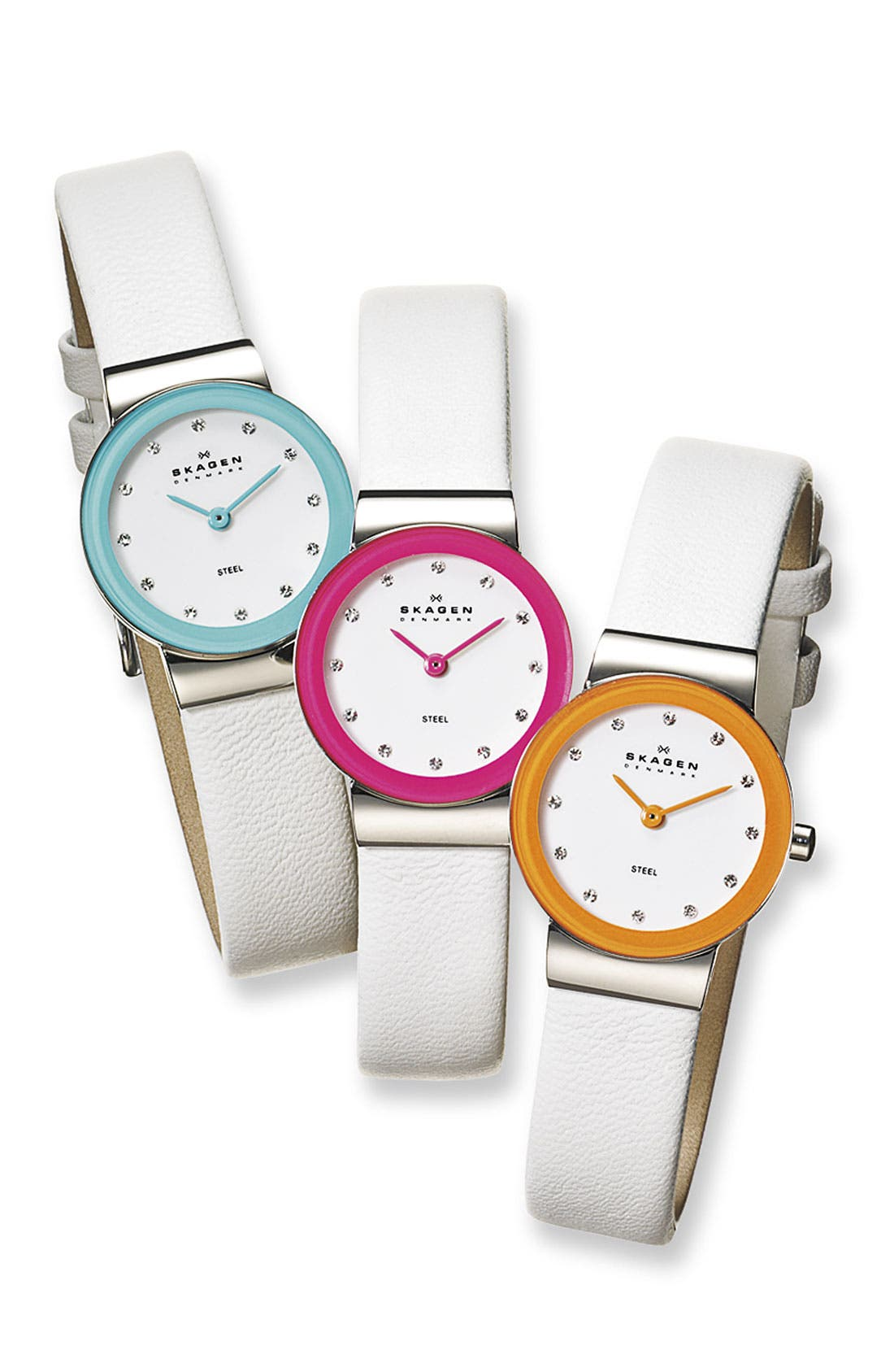 Alternate Image 2  - Skagen Color Border Leather Strap Watch