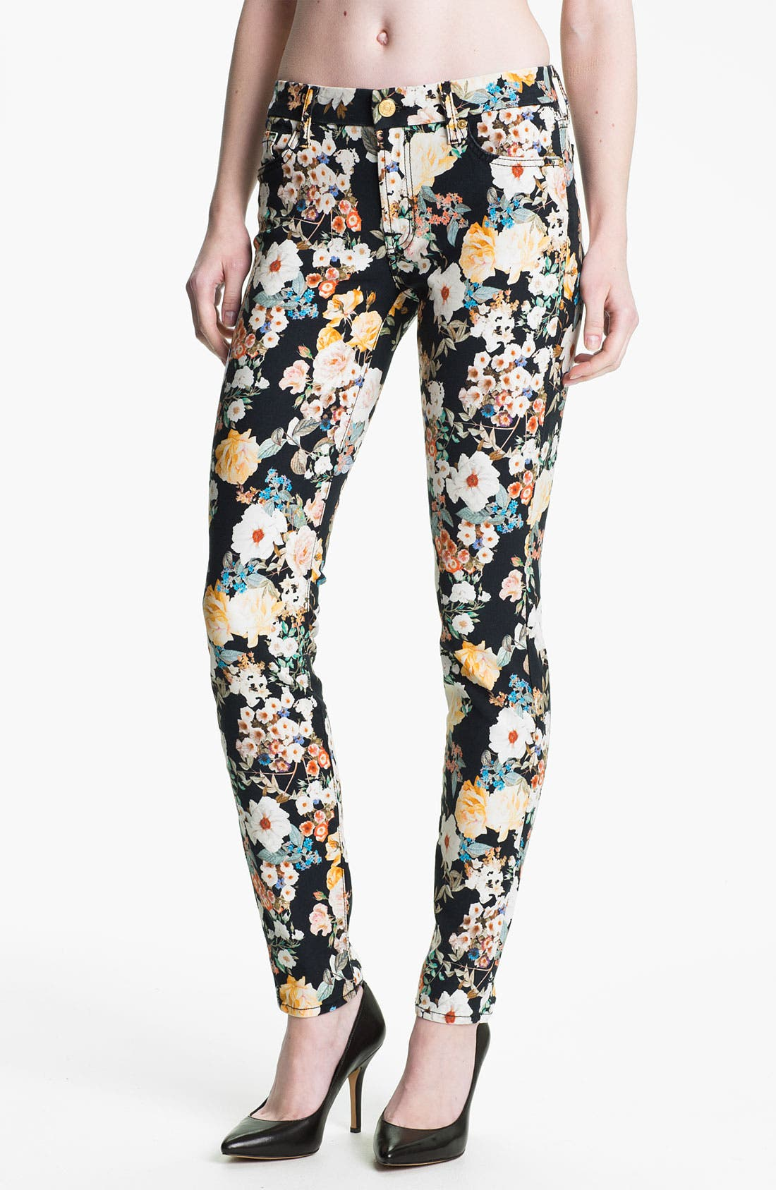 Alternate Image 1 Selected - 7 For All Mankind® 'The Skinny' Print Jeans (Midnight Floral)