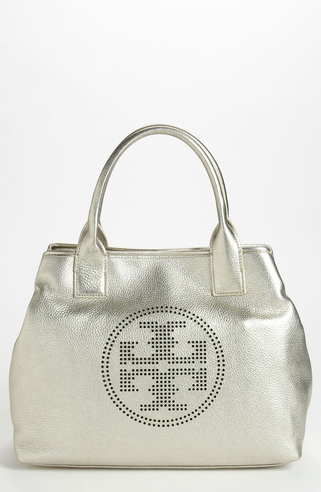 Main Image - Tory Burch 'Small' Perforated Logo Metallic Classic Tote