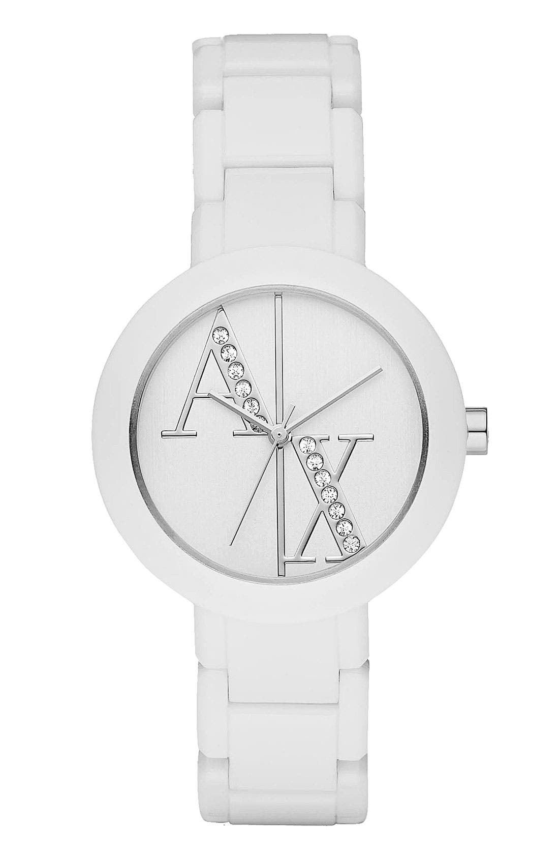Main Image - AX Armani Exchange Crystal Logo Bracelet Watch, 34mm