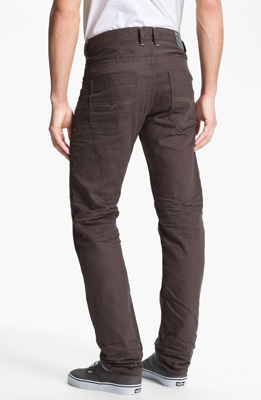 Alternate Image 1 Selected - DIESEL® 'Braddom' Slim Tapered Leg Jeans (Deep Black)