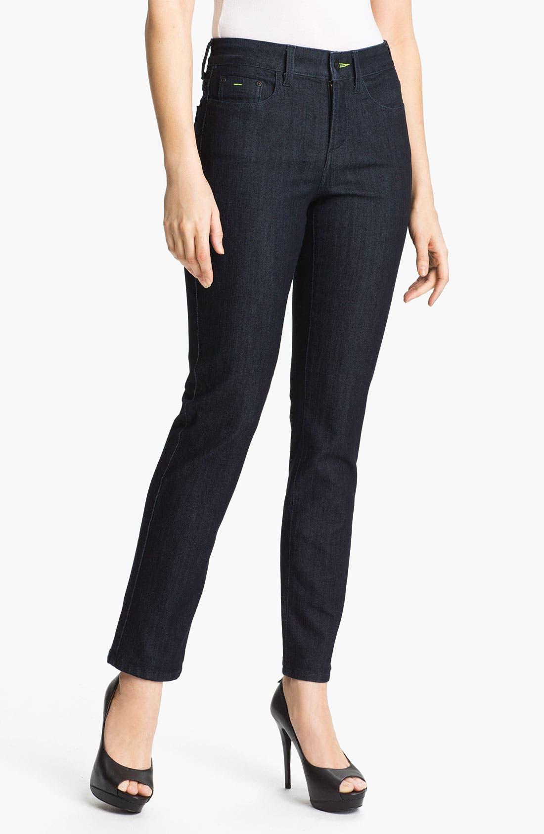 Main Image - NYDJ 'Sheri' Neon Stitch Skinny Stretch Jeans