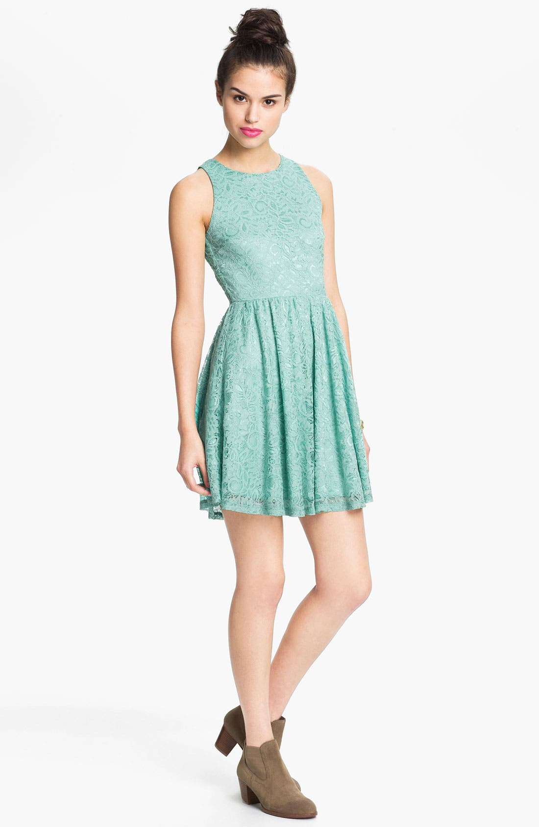 Main Image - Soprano Lace Skater Dress (Juniors)