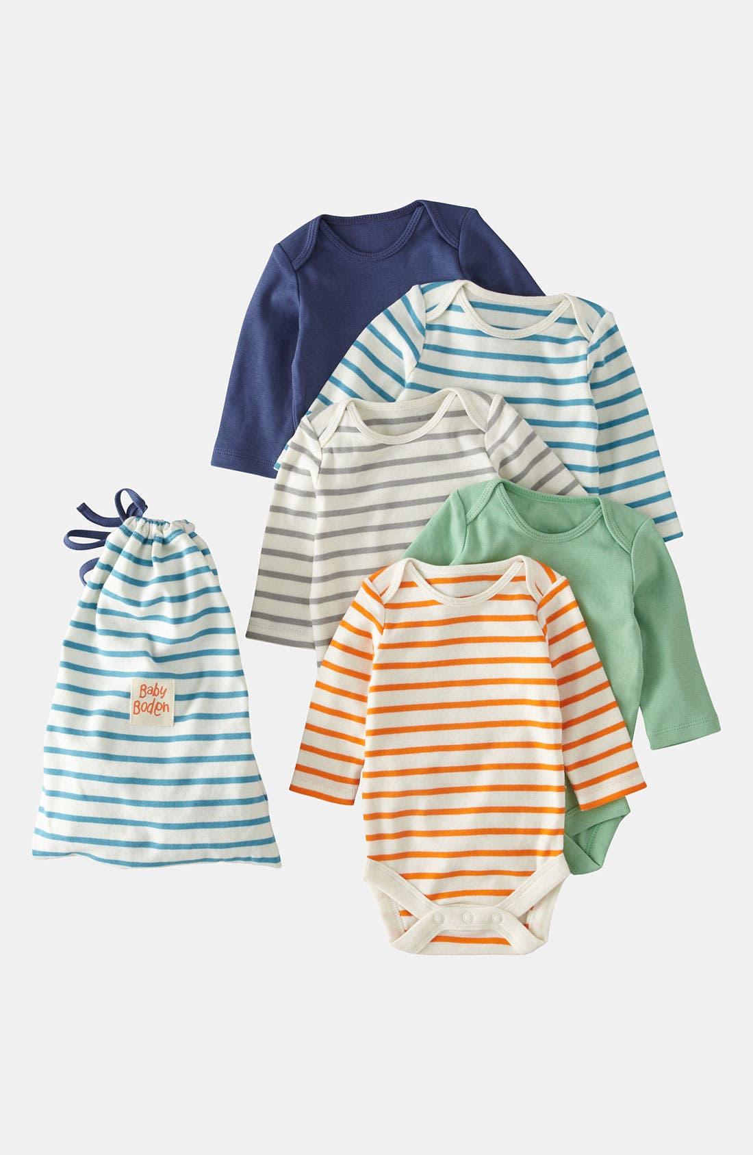 Alternate Image 1 Selected - Mini Boden Bodysuit (5-Pack) (Infant)