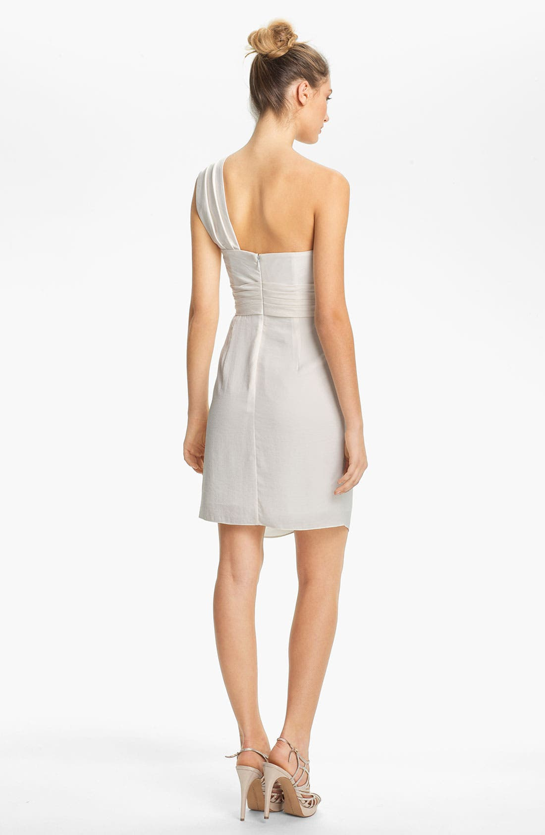Alternate Image 3  - BCBGMAXAZRIA Drape Front One-Shoulder Satin Dress