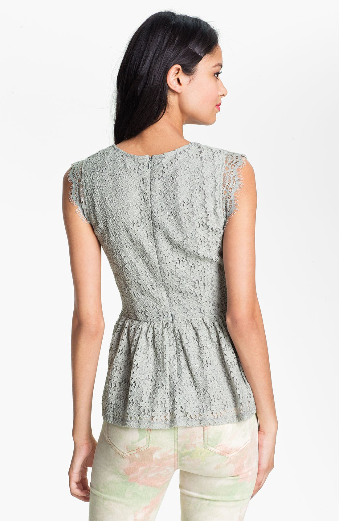 Alternate Image 2  - Chloe K Lace Peplum Top (Juniors)