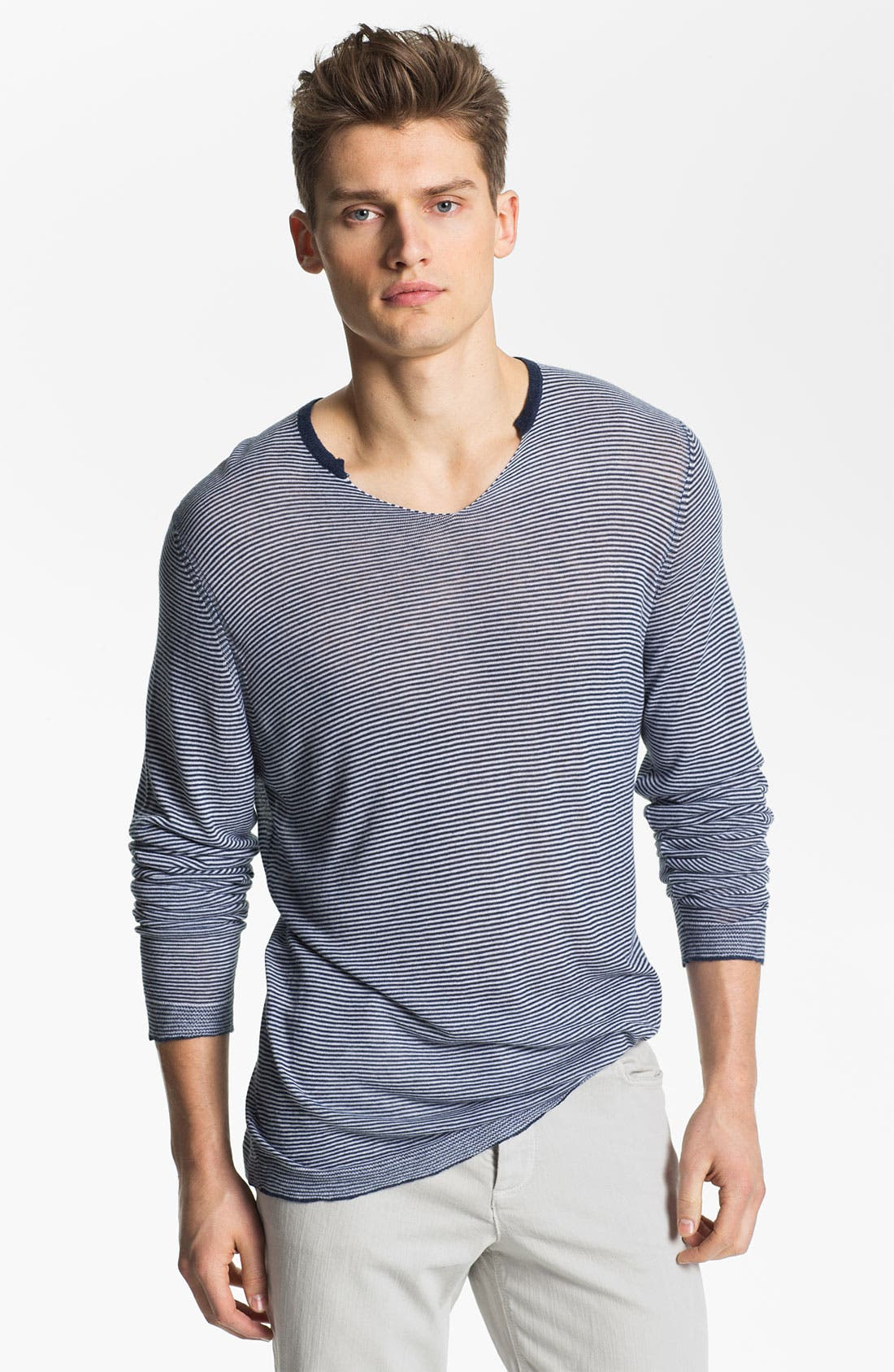 Alternate Image 1 Selected - Zadig & Voltaire Notched Stripe Knit T-Shirt