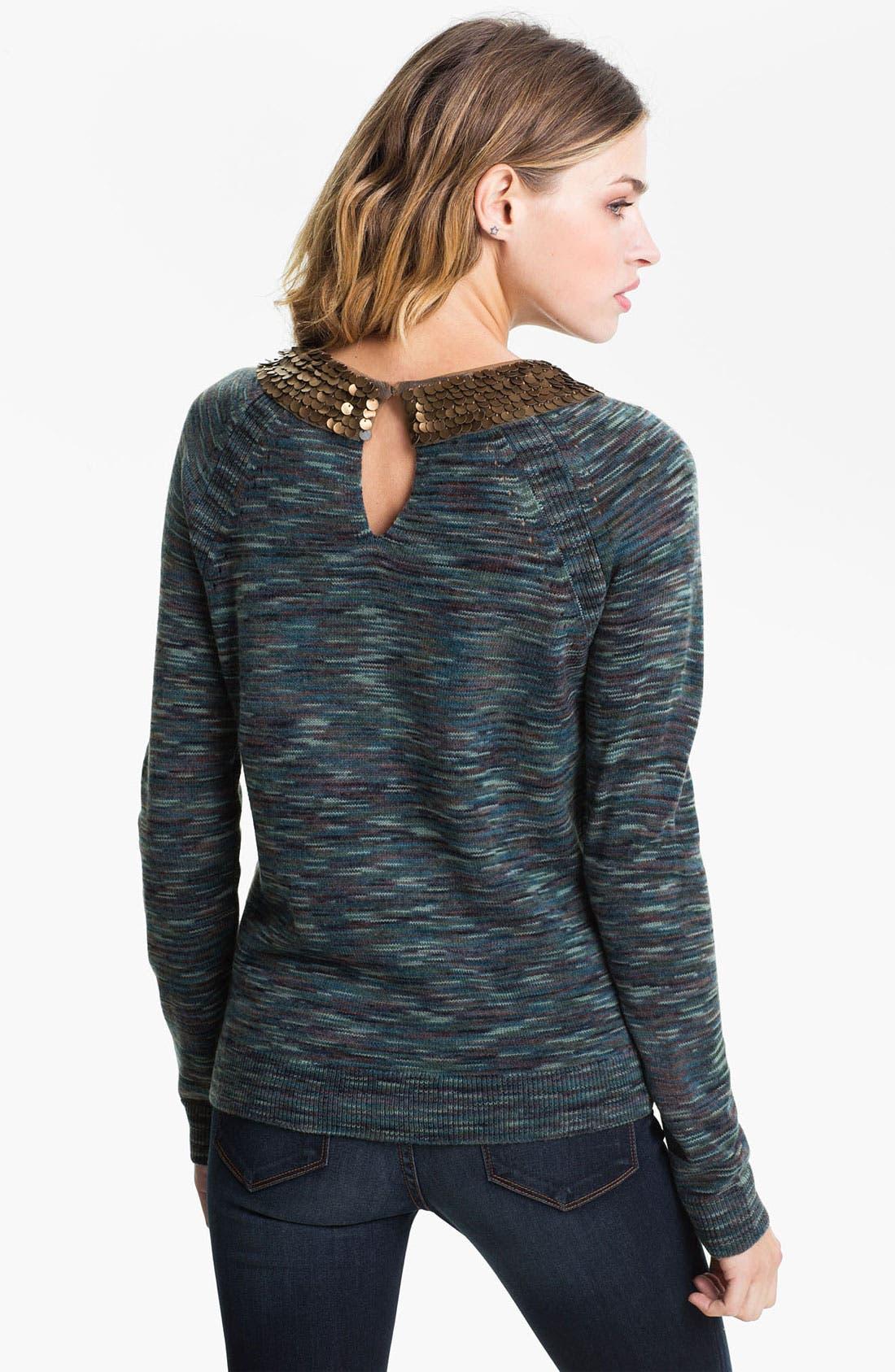 Alternate Image 2  - Hinge® Embellished Collar Space Dye Sweater