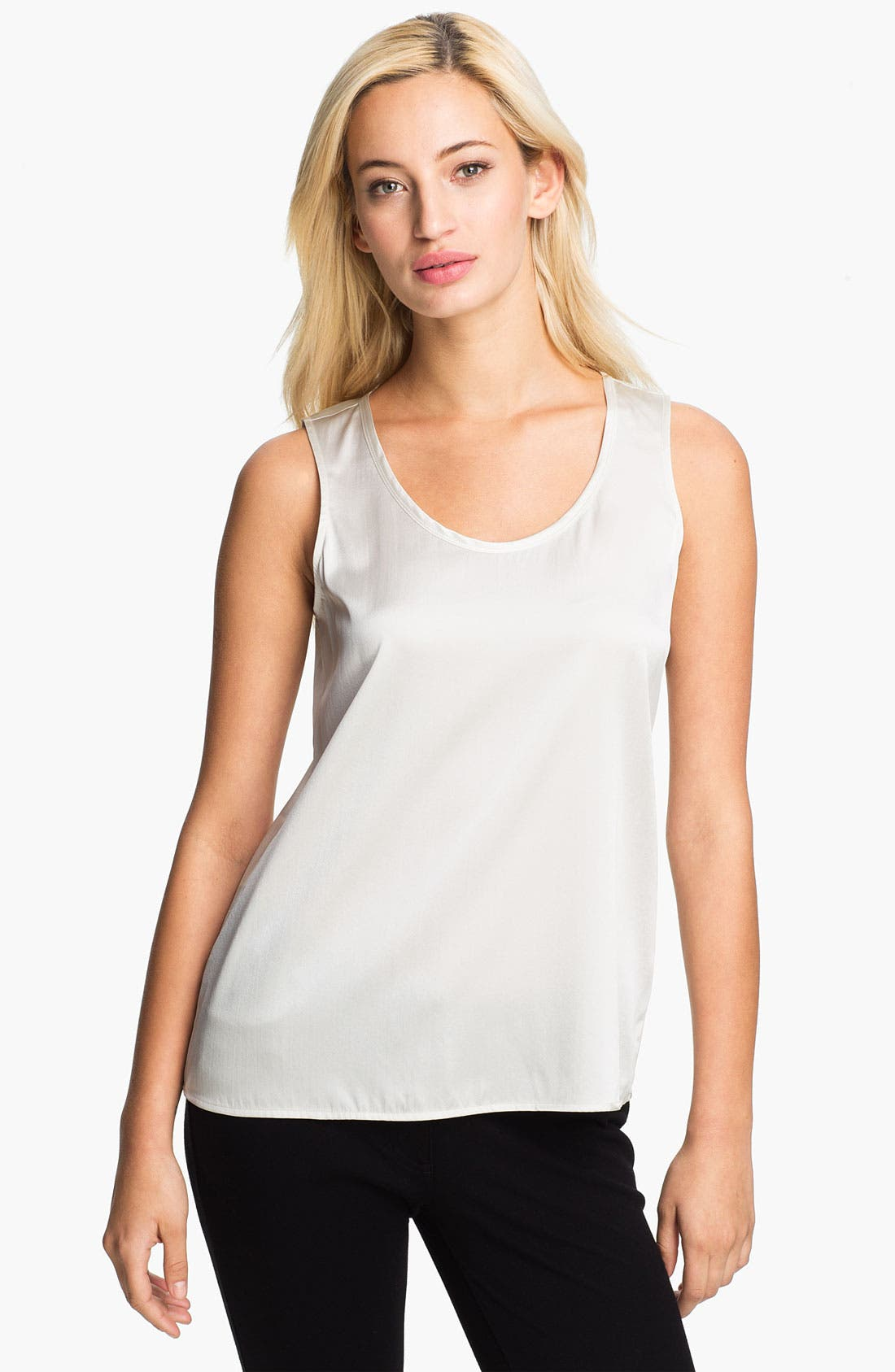 Alternate Image 1 Selected - Eileen Fisher Stretch Silk Charmeuse Shell