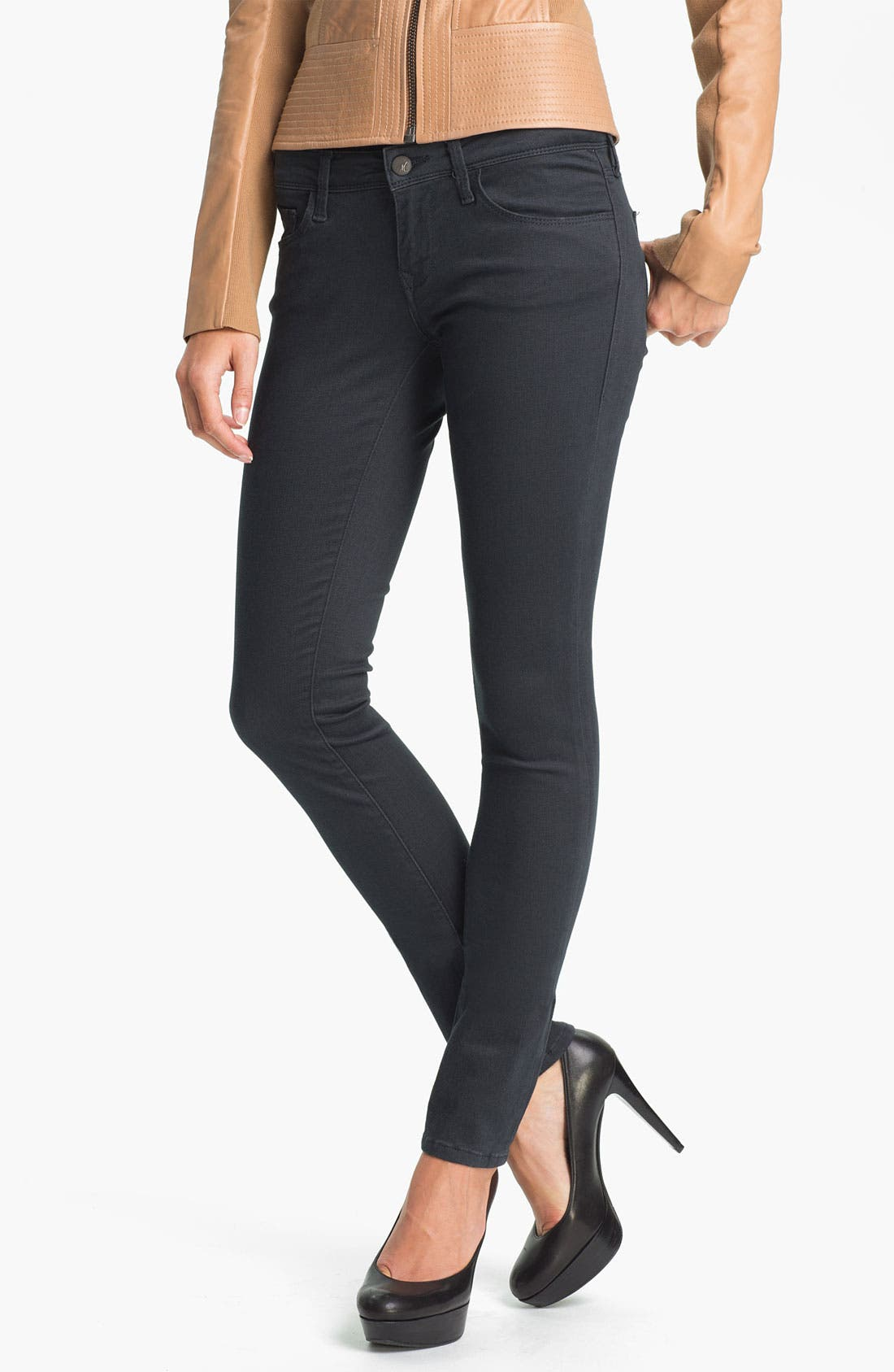 Main Image - Mavi Jeans 'Serena' Low Rise Skinny  Jeans (Sueded Granite) (Online Exclusive)
