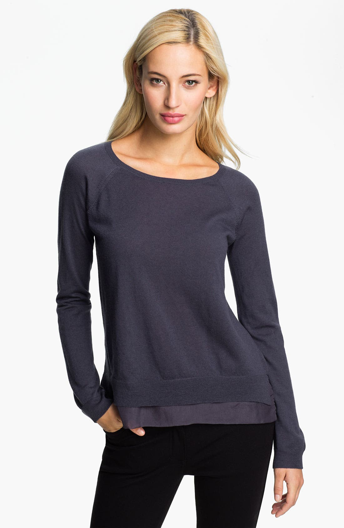 Alternate Image 1 Selected - Christopher Fischer 'Gillian' Cashmere & Chiffon Trim Sweater (Online Exclusive)