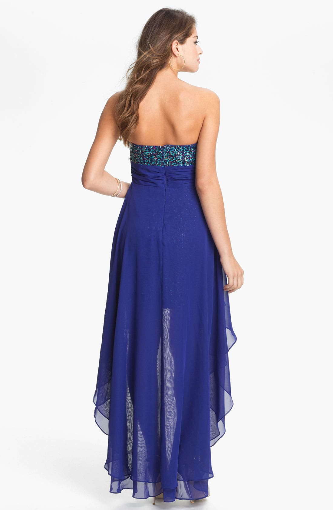 Alternate Image 2  - Hailey Logan Chiffon Overlay Body-Con Dress (Juniors) (Online Exclusive)